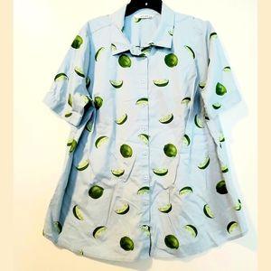 22 eShakti Blue Cotton Limes Print Short Sleeve Button Up Shirt
